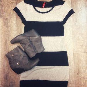 H&M tunic sweater dress short striped black 2